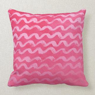 Neon Pink Wave Texture Pattern Cushion