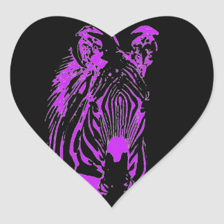 Neon Pink Zebra Heart Sticker