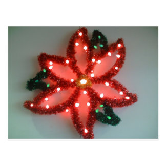 Neon Poinsettia Christmas Postcard