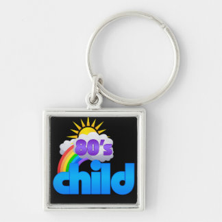 Neon Pop 80s Child Silver-Colored Square Key Ring