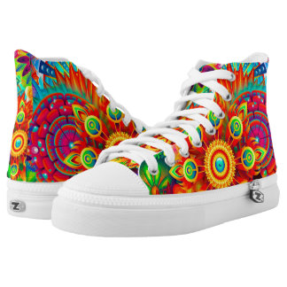 Neon Psychedelic Abstract Cool Cute Fractal Printed Shoes
