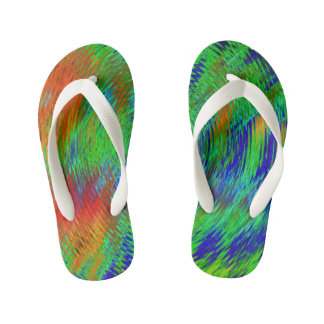 Neon psychedelic kids flip flops-for cool kids! flip flops