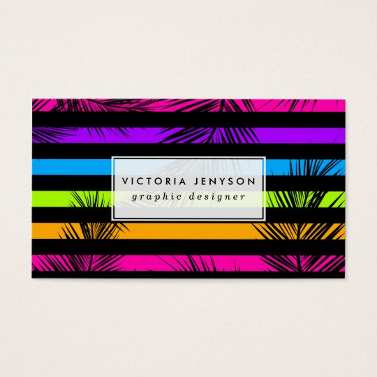 Neon Psychedelic Stripes Palm Trees Pattern Business Card