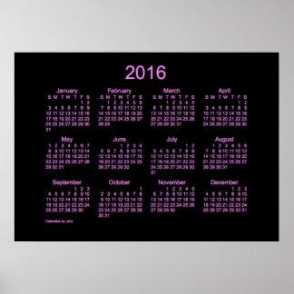 Neon Purple 2016 Wall Calendar Posters