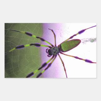 Neon Purple and Green Spider Rectangular Sticker