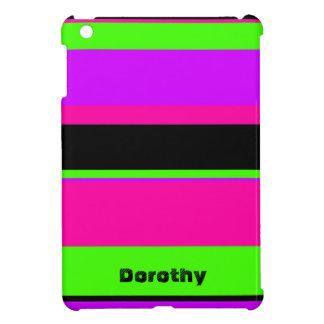Neon Purple and Green Stripe iPad Mini Cover
