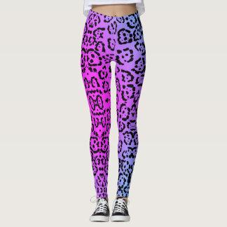 Neon Purple Cheetah Cat Animal Print Leggings