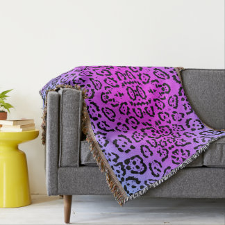 Neon Purple Cheetah Cat Animal Print Throw Blanket