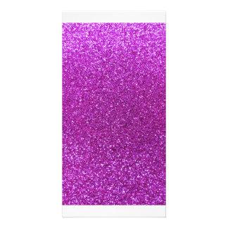Neon purple glitter picture card
