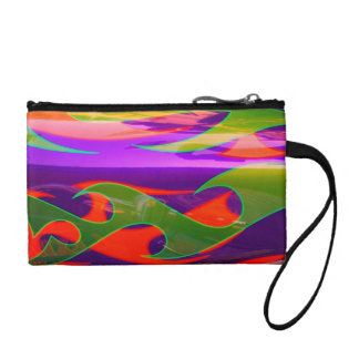Neon Purple Green Orange Flames Bagettes Key Coin Coin Wallets