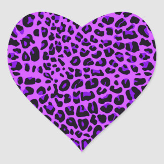 Neon purple leopard print pattern heart sticker