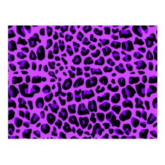 Neon purple leopard print pattern postcard