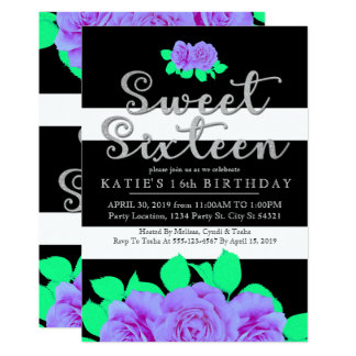 Neon Purple & Lime Floral, Sweet 16 Invitations