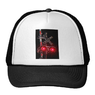 Neon Railroad Crossing Signal Hat