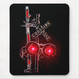 Neon Railroad Crossing Signal Mouse Mat