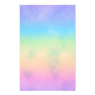 Neon Rainbow Clouds Stationery