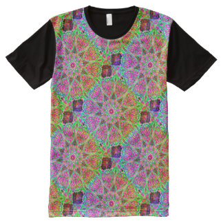 Neon Rainbow Kaleidoscope ~ Beautiful Reflections All-Over Print T-Shirt