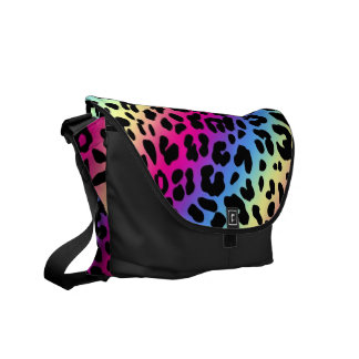 Neon Rainbow Leopard Pattern Print Courier Bag