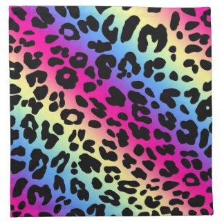 Neon Rainbow Leopard Pattern Print Napkin