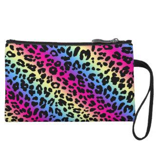 Neon Rainbow Leopard Pattern Print Wristlet Clutch