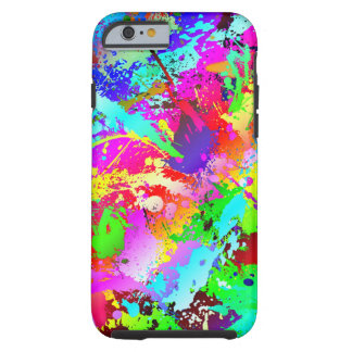 Neon Rainbow Splatter Tough iPhone 6 Case