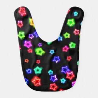 Neon Rainbow Stars Baby Bib