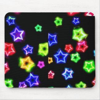 Neon Rainbow Stars Mousepad