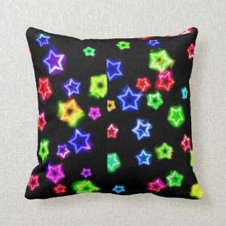 Neon Rainbow Stars Square pillow