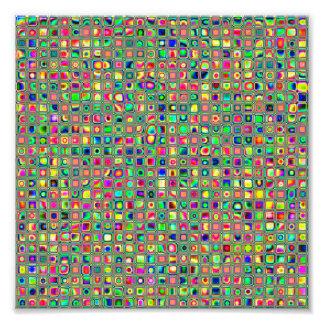 Neon Rainbow Textured Mosaic Tiles Pattern Photo Art