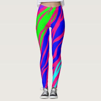 Neon Rainbow Zebra Leggings