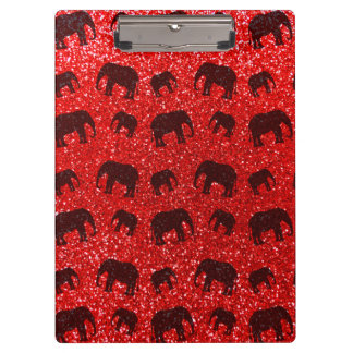 Neon red elephant glitter pattern clipboards