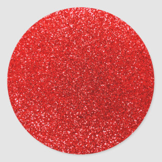 Neon red glitter classic round sticker