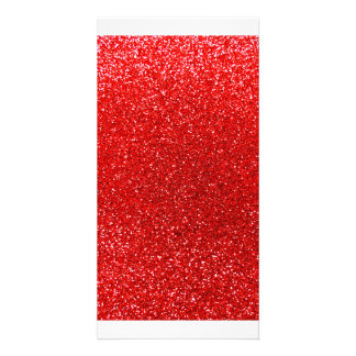 Neon red glitter customized photo card