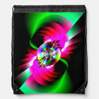 Neon Red Green Abstract Cinch Bags