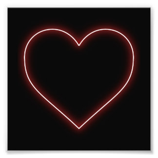 Neon Red Heart - Love Valentines Photograph
