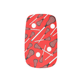Neon red lacrosse sticks pattern minx nail art