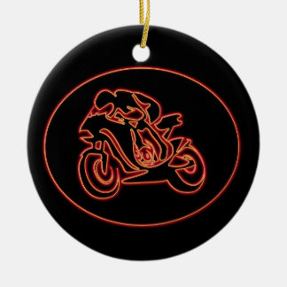 Neon Red Racing Motorcycle Silhouette Round Ceramic Decoration