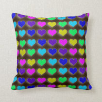 Neon Retro Hearts Cushion