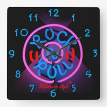 Neon Rock n' Roll personalised Square Wall Clock