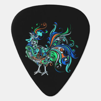 Neon Rooster Guitar Pick
