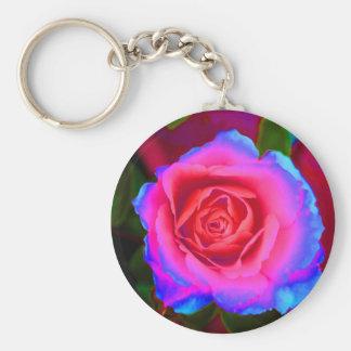 Neon Rose Basic Round Button Key Ring
