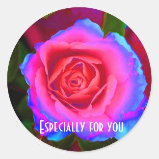 Neon Rose Classic Round Sticker