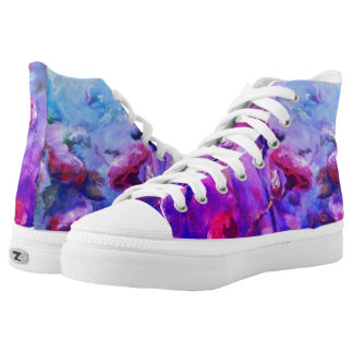 Neon roses hightop sneakers