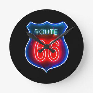 Neon Route 66 Sign Round Clock
