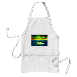 Neon Sailboat Dusk Thirty Ocean Sailing Gifts Aprons