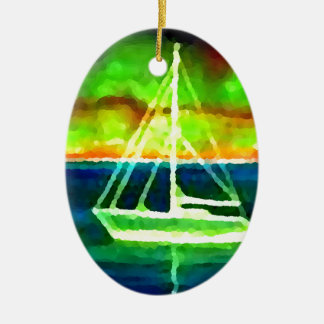 Neon Sailboat Dusk Thirty Ocean Sailing Gifts Christmas Ornament