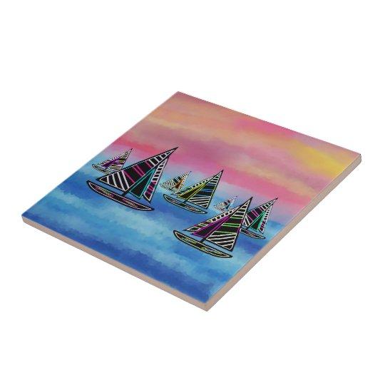 Neon Sailboats in the Sun Ceramic Tile