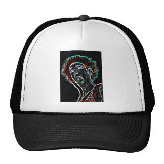 Neon Scream Face truckers hat