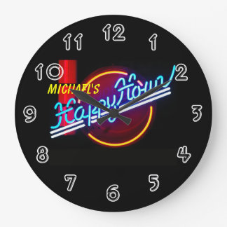 Neon Sign Bar Large Clock