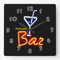 Neon Sign Home Bar Personalised Square Wall Clock